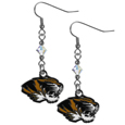 Missouri Tigers Crystal Dangle Earrings - Our crystal dangle earrings are the perfect accessory for your game day outfit! The earrings are approximately 1.5 inches long and feature an iridescent crystal bead and nickel free chrome Missouri Tigers charm on nickel free, hypoallergenic fishhook posts. Thank you for shopping with CrazedOutSports.com