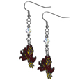 Arizona St. Sun Devils Crystal Dangle Earrings - Our crystal dangle earrings are the perfect accessory for your game day outfit! The earrings are approximately 1.5 inches long and feature an iridescent crystal bead and nickel free chrome Arizona St. Sun Devils charm on nickel free, hypoallergenic fishhook posts. Thank you for shopping with CrazedOutSports.com