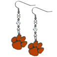 Clemson Tigers Crystal Dangle Earrings - Our crystal dangle earrings are the perfect accessory for your game day outfit! The earrings are approximately 1.5 inches long and feature an iridescent crystal bead and nickel free chrome Clemson Tigers charm on nickel free, hypoallergenic fishhook posts. Thank you for shopping with CrazedOutSports.com