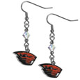 Oregon St. Beavers Crystal Dangle Earrings - Our collegieate crystal dangle earrings are the perfect accessory for your game day outfit! The earrings are approximately 1.5 inches long and feature an iridescent crystal bead and nickel free chrome Oregon St. Beavers charm on nickel free, hypoallergenic fishhook posts. Thank you for shopping with CrazedOutSports.com
