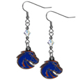Boise St. Broncos Crystal Dangle Earrings - Our crystal dangle earrings are the perfect accessory for your game day outfit! The earrings are approximately 1.5 inches long and feature an iridescent crystal bead and nickel free chrome Boise St. Broncos charm on nickel free, hypoallergenic fishhook posts. Thank you for shopping with CrazedOutSports.com