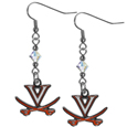 Virginia Cavaliers Crystal Dangle Earrings - Our crystal dangle earrings are the perfect accessory for your game day outfit! The earrings are approximately 1.5 inches long and feature an iridescent crystal bead and nickel free chrome Virginia Cavaliers charm on nickel free, hypoallergenic fishhook posts.