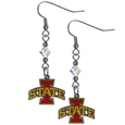 Iowa St. Cyclones Crystal Dangle Earrings - These Iowa St. Cyclones crystal dangle earrings are the perfect accessory for your game day outfit! The earrings are approximately 1.5 inches long and feature an iridescent crystal bead and nickel free chrome Iowa St. Cyclones charm on nickel free, hypoallergenic fishhook posts. Thank you for shopping with CrazedOutSports.com