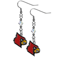 Louisville Cardinals Crystal Dangle Earrings - These Louisville Cardinals crystal dangle earrings are the perfect accessory for your game day outfit! The Louisville Cardinals Crystal Dangle Earrings are approximately 1.5 inches long and feature an iridescent crystal bead and nickel free chrome Louisville Cardinals charm on nickel free, hypoallergenic fishhook posts. Thank you for shopping with CrazedOutSports.com