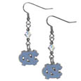N. Carolina Tar Heels Crystal Dangle Earrings - Our collegiate crystal dangle earrings are the perfect accessory for your game day outfit! The earrings are approximately 1.5 inches long and feature an iridescent crystal bead and nickel free chrome N. Carolina Tar Heels charm on nickel free, hypoallergenic fishhook posts. Thank you for shopping with CrazedOutSports.com