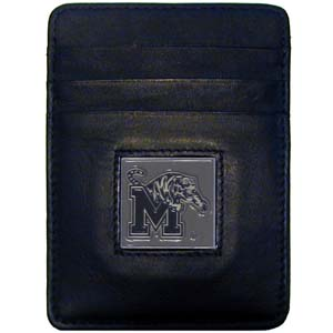 Money Clip/Cardholder- Memphis Tigers - Memphis Tigers Money Clip/Card Holders won't make you choose between paper or plastic because they stow both easily. Memphis Tigers Money Clip/Cardholder features a sculpted and enameled school logo on black leather. Thank you for shopping with CrazedOutSports.com