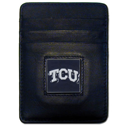 TCU Leather Money Clip/Cardholder - Our college Money Clip/Card Holders won't make you choose between paper or plastic because they stow both easily. Features our sculpted and enameled school logo on black leather. Packaged in a windowed box. Thank you for shopping with CrazedOutSports.com