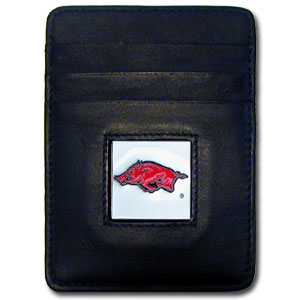 College Money Clip/Card Holder - Arkansas Razorbacks - Our Executive college Money Clip/Card Holders won't make you choose between paper or plastic because they stow both easily. Features our sculpted and enameled school logo on black leather. Check out our entire line of  leather checkbooks! Thank you for shopping with CrazedOutSports.com