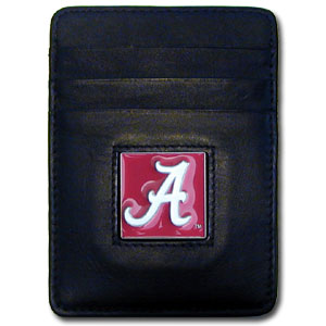 College Money Clip/Card Holder - Alabama Crimson Tide - Our Executive college Money Clip/Card Holders won't make you choose between paper or plastic because they stow both easily. Features our sculpted and enameled school logo on black leather. Check out our entire line of  leather checkbooks! Thank you for shopping with CrazedOutSports.com