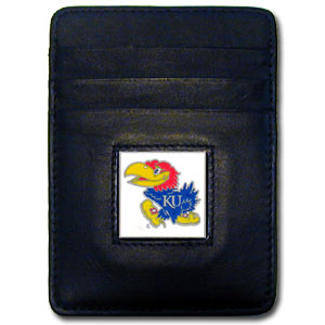 College Money Clip/Card Holder - Kansas Jayhawks - This Executive Kansas Jayhawks college Money Clip/Card Holder won't make you choose between paper or plastic because they stow both easily. Features our sculpted and enameled school logo on black leather. Check out our entire line of  leather checkbooks! Thank you for shopping with CrazedOutSports.com