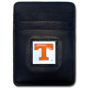 College Money Clip/Card Holder - Tennessee Volunteers - Our Executive college Money Clip/Card Holders won't make you choose between paper or plastic because they stow both easily. Features our sculpted and enameled school logo on black leather. Check out our entire line of  leather checkbooks! Thank you for shopping with CrazedOutSports.com