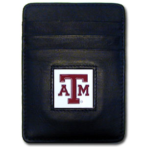 College Money Clip/Card Holder - Texas AandM Aggies - Our Executive college Money Clip/Card Holders won't make you choose between paper or plastic because they stow both easily. Features our sculpted and enameled school logo on black leather. Check out our entire line of  leather checkbooks! Thank you for shopping with CrazedOutSports.com
