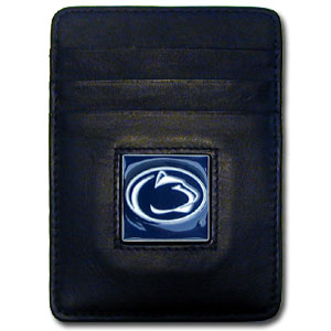 College Money Clip/Card Holder - Penn State Nittany Lions - Our Executive college Money Clip/Card Holders won't make you choose between paper or plastic because they stow both easily. Features our sculpted and enameled school logo on black leather. Check out our entire line of  leather checkbooks! Thank you for shopping with CrazedOutSports.com