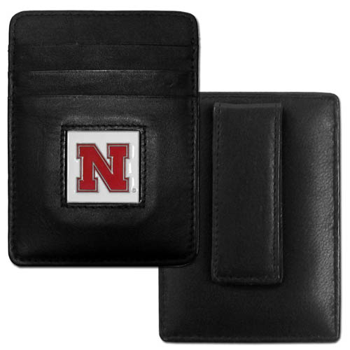 College Money Clip/Card Holder - Nebraska Cornhuskers - Our Executive college Money Clip/Card Holders won't make you choose between paper or plastic because they stow both easily. Features our sculpted and enameled school logo on black leather. Check out our entire line of  leather checkbooks! Thank you for shopping with CrazedOutSports.com