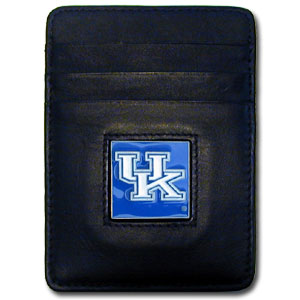 College Money Clip/Card Holder Boxed- Kentucky Wildcats - Our college Money Clip/Card Holders won't make you choose between paper or plastic because they stow both easily. Features our sculpted and enameled school logo on black leather. Packaged in a windowed box. Thank you for shopping with CrazedOutSports.com