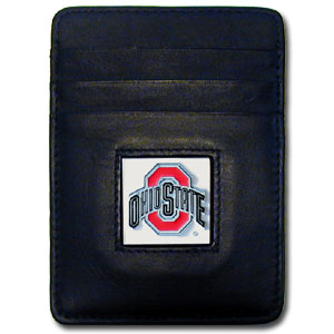 Ohio St. Money Clip/Cardholder - Our college Money Clip/Card Holders won't make you choose between paper or plastic because they stow both easily. Features our sculpted and enameled school logo on black leather. Packaged in a windowed box. Thank you for shopping with CrazedOutSports.com