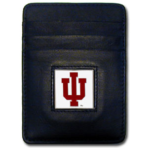 College Money Clip/Card Holder - Indiana Hoosiers - Our Executive Indiana Hoosiers college Money Clip/Card Holders won't make you choose between paper or plastic because they stow both easily. Features our sculpted and enameled school logo on black leather. Check out our entire line of  leather checkbooks! Thank you for shopping with CrazedOutSports.com