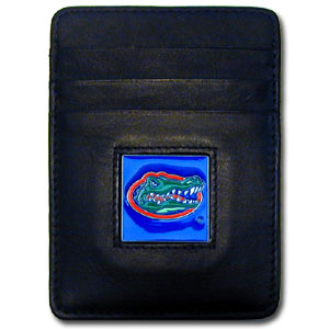 College Money Clip/Card Holder - Florida Gators - Our Executive college Money Clip/Card Holders won't make you choose between paper or plastic because they stow both easily. Features our sculpted and enameled Florida Gators logo on black leather. Check out our entire line of  leather checkbooks! Thank you for shopping with CrazedOutSports.com