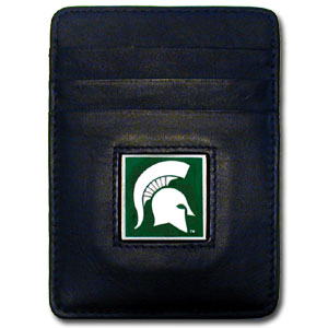 Michigan State Spartans College Money Clip/Card Holder - This Executive Michigan State Spartans College Money Clip/Card Holder won't make you choose between paper or plastic because they stow both easily. Michigan State Spartans College Money Clip/Card Holder features a sculpted and enameled school logo on black leather. Check out our entire line of  leather checkbooks! Thank you for shopping with CrazedOutSports.com