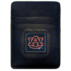 College Money Clip/Card Holder - Auburn Tigers - Our Executive Auburn Tigers college Money Clip/Card Holders won't make you choose between paper or plastic because they stow both easily. Features our sculpted and enameled school logo on black leather. Check out our entire line of  leather checkbooks! Thank you for shopping with CrazedOutSports.com