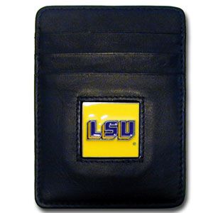 College Money Clip/Card Holder Boxed- LSU Tigers - This LSU Tigers college Money Clip/Card Holder won't make you choose between paper or plastic because they stow both easily. LSU TigersClip/Card Holder features a sculpted and enameled school logo on black leather. Packaged in a windowed box. Thank you for shopping with CrazedOutSports.com