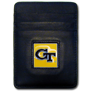 College Money Clip/Card Holder - Georgia Tech Yellow Jackets - Our Executive college Money Clip/Card Holders won't make you choose between paper or plastic because they stow both easily. Features our sculpted and enameled school logo on black leather. Check out our entire line of  leather checkbooks! Thank you for shopping with CrazedOutSports.com