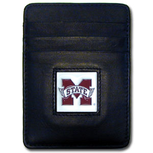 College Money Clip/Card Holder - Mississippi State Bulldogs - Our Executive college Money Clip/Card Holders won't make you choose between paper or plastic because they stow both easily. Features our sculpted and enameled school logo on black leather. Check out our entire line of  leather checkbooks! Thank you for shopping with CrazedOutSports.com