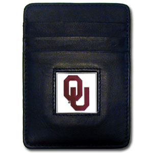College Money Clip/Card Holder Boxed- Oklahoma Sooners - Our college Money Clip/Card Holders won't make you choose between paper or plastic because they stow both easily. Features our sculpted and enameled school logo on black leather. Packaged in a windowed box. Thank you for shopping with CrazedOutSports.com