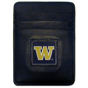 College Money Clip/Card Holder Boxed- Washington Huskies - Our college Money Clip/Card Holders won't make you choose between paper or plastic because they stow both easily. Features our sculpted and enameled school logo on black leather. Packaged in a windowed box. Thank you for shopping with CrazedOutSports.com