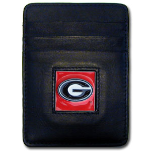 College Money Clip/Card Holder - Georgia Bulldogs - Our Executive Georgia Bulldogs college Money Clip/Card Holder won't make you choose between paper or plastic because they stow both easily. Features our sculpted and enameled school logo on black leather. Check out our entire line of  leather checkbooks! Thank you for shopping with CrazedOutSports.com