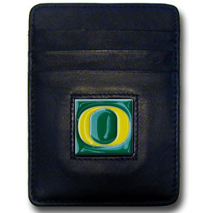 College Money Clip/Card Holder - Oregon Ducks - Our Executive college Money Clip/Card Holders won't make you choose between paper or plastic because they stow both easily. Features our sculpted and enameled school logo on black leather. Check out our entire line of  leather checkbooks! Thank you for shopping with CrazedOutSports.com