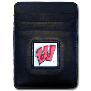 College Money Clip/Card Holder - Wisconsin Badgers - Our Executive college Money Clip/Card Holders won't make you choose between paper or plastic because they stow both easily. Features our sculpted and enameled school logo on black leather. Check out our entire line of  leather checkbooks! Thank you for shopping with CrazedOutSports.com