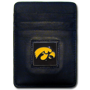 College Money Clip/Card Holder - Iowa Hawkeyes - This Executive Iowa Hawkeyes College Money Clip/Card Holders won't make you choose between paper or plastic because they stow both easily. Features our sculpted and enameled school logo on black leather. Check out our entire line of  leather checkbooks! Thank you for shopping with CrazedOutSports.com