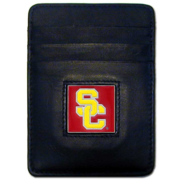 College Money clip/Cardholder - USC Trojans - Our Executive college Money Clip/Card Holders won't make you choose between paper or plastic because they stow both easily. Features our sculpted and enameled school logo on black leather. Check out our entire line of  leather checkbooks! Thank you for shopping with CrazedOutSports.com