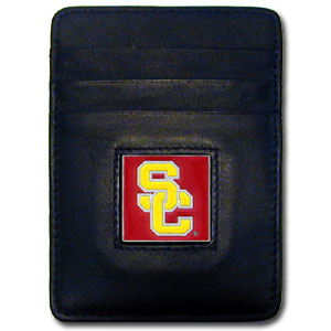 College Money Clip/Card Holder Boxed- USC Trojans - Our college Money Clip/Card Holders won't make you choose between paper or plastic because they stow both easily. Features our sculpted and enameled school logo on black leather. Packaged in a windowed box. Thank you for shopping with CrazedOutSports.com