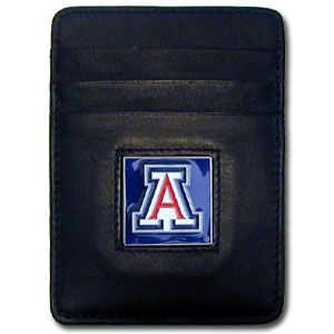 College Money Clip/Card Holder - Arizona Wildcats - Our Executive college Money Clip/Card Holders won't make you choose between paper or plastic because they stow both easily. Features our sculpted and enameled Arizona Wildcats school logo on black leather. Check out our entire line of  leather checkbooks! Thank you for shopping with CrazedOutSports.com