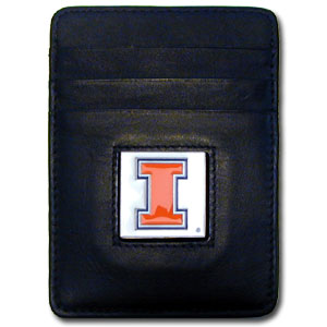 College Money Clip/Card Holder Boxed- Illinois Fighting Illini - This Illinois Fighting Illini college Money Clip/Card Holders won't make you choose between paper or plastic because they stow both easily. Features our sculpted and enameled school logo on black leather. Packaged in a windowed box. Thank you for shopping with CrazedOutSports.com