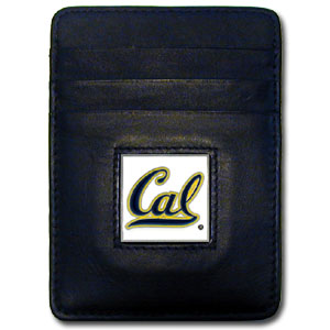 College Money clip/Cardholder - Cal Berkeley Bears - Our Executive college Money Clip/Card Holders won't make you choose between paper or plastic because they stow both easily. Features our sculpted and enameled Cal Berkeley Bears logo on black leather. Check out our entire line of  leather checkbooks! Thank you for shopping with CrazedOutSports.com