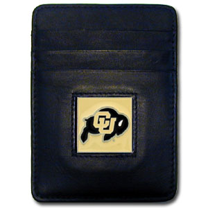 College Money Clip/Card Holder - Colorado Buffaloes - Our Executive college Money Clip/Card Holders won't make you choose between paper or plastic because they stow both easily. Features our sculpted and enameled school logo on black leather. Check out our entire line of  leather checkbooks! Thank you for shopping with CrazedOutSports.com