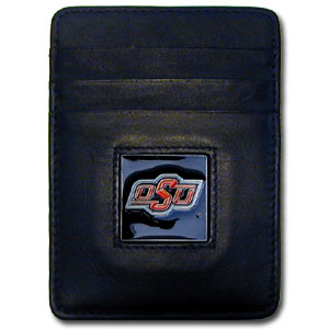 College Money Clip/Card Holder - Oklahoma State Cowboys - Our Executive college Money Clip/Card Holders won't make you choose between paper or plastic because they stow both easily. Features our sculpted and enameled school logo on black leather. Check out our entire line of  leather checkbooks! Thank you for shopping with CrazedOutSports.com