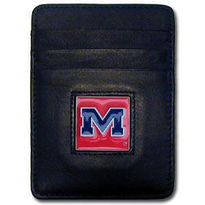 College Money Clip/Card Holder - Mississippi Rebels - Our Executive college Money Clip/Card Holders won't make you choose between paper or plastic because they stow both easily. Features our sculpted and enameled school logo on black leather. Check out our entire line of  leather checkbooks! Thank you for shopping with CrazedOutSports.com