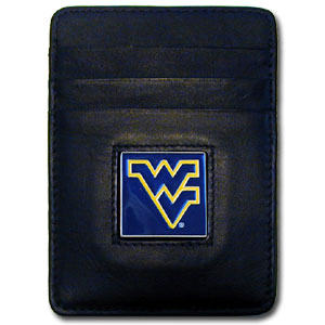 College Money Clip/Card Holder - West Virginia Mountaineers - Our Executive college Money Clip/Card Holders won't make you choose between paper or plastic because they stow both easily. Features our sculpted and enameled school logo on black leather. Check out our entire line of  leather checkbooks! Thank you for shopping with CrazedOutSports.com