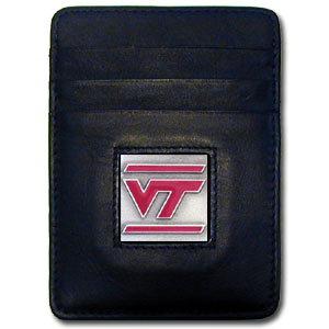 College Money Clip/Card Holder - Virginia Tech Hokies - Our Executive college Money Clip/Card Holders won't make you choose between paper or plastic because they stow both easily. Features our sculpted and enameled school logo on black leather. Check out our entire line of  leather checkbooks! Thank you for shopping with CrazedOutSports.com