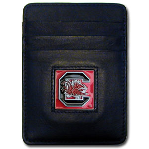 College Money Clip/Card Holder - South Carolina Gamecocks - Our Executive college Money Clip/Card Holders won't make you choose between paper or plastic because they stow both easily. Features our sculpted and enameled school logo on black leather. Check out our entire line of  leather checkbooks! Thank you for shopping with CrazedOutSports.com