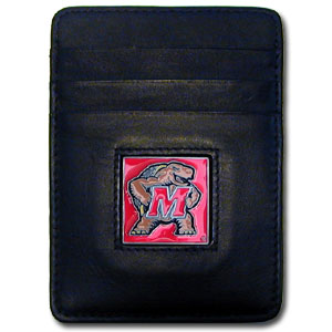 College Money Clip/Card Holder Boxed- Maryland Terrapins - Our college Money Clip/Card Holders won't make you choose between paper or plastic because they stow both easily. Features our sculpted and enameled school logo on black leather. Packaged in a windowed box. Thank you for shopping with CrazedOutSports.com