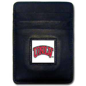 College Money Clip/Card Holder Boxed- UNLV Rebels - Our college Money Clip/Card Holders won't make you choose between paper or plastic because they stow both easily. Features our sculpted and enameled school logo on black leather. Packaged in a windowed box. Thank you for shopping with CrazedOutSports.com