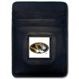 College Money Clip/Card Holder - Missouri Tigers - Our Executive college Money Clip/Card Holders won't make you choose between paper or plastic because they stow both easily. Features our sculpted and enameled school logo on black leather. Check out our entire line of  leather checkbooks! Thank you for shopping with CrazedOutSports.com