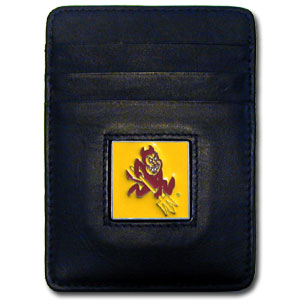 College Money Clip/Card Holder - Arizona State Sun Devils - Our Executive college Money Clip/Card Holders won't make you choose between paper or plastic because they stow both easily. Features our sculpted and enameled school logo on black leather. Check out our entire line of  leather checkbooks! Thank you for shopping with CrazedOutSports.com