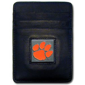 College Money Clip/Card Holder Boxed- Clemson Tigers - Our college Money Clip/Card Holders won't make you choose between paper or plastic because they stow both easily. Features our sculpted and enameled Clemson Tigers logo on black leather. Packaged in a windowed box. Thank you for shopping with CrazedOutSports.com
