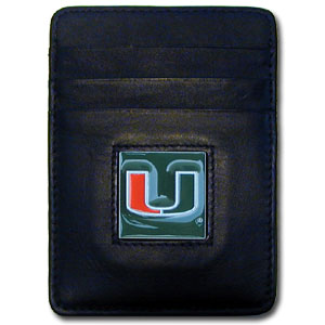Miami Hurricanes College Money Clips/Card Holder Boxed - This Miami Hurricanes college Money Clip/Card Holder won't make you choose between paper or plastic because they stow both easily. Features our sculpted and enameled school logo on black leather. Packaged in a windowed box. Thank you for shopping with CrazedOutSports.com